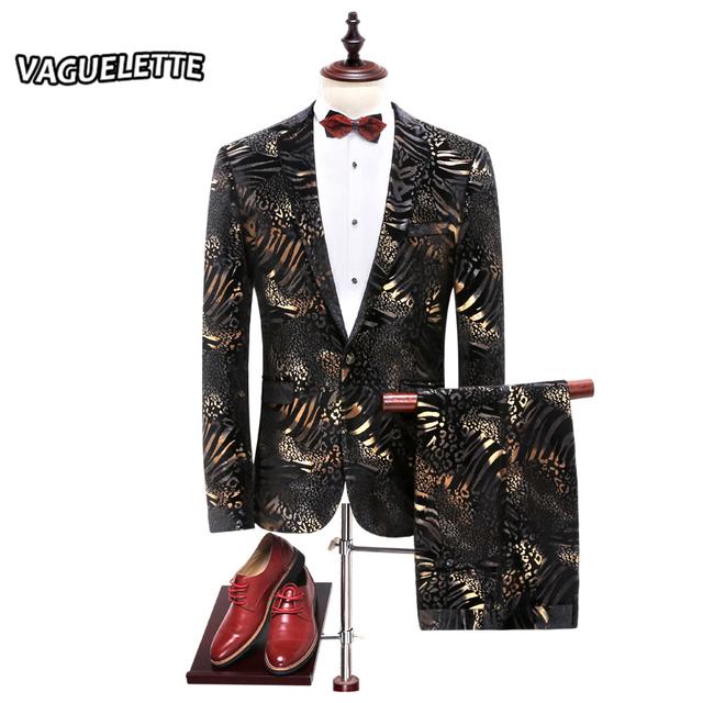 Padrões de Leopardo de ouro Terno Do Casamento Dos Homens Magros Roupas de Palco Para A Cantora Moda Listrado Dos Homens Slim Fit Ternos Com Calças L-4XL