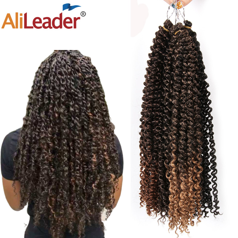 """AliLeader Ombre Fluffy Kinky Curly Twist Braiding Hair Bulk 18"""" Synthetic Long Passion Spring Twist Hair Crochet Braids 30stands"""