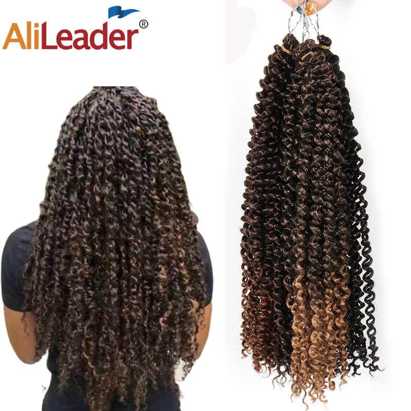 "AliLeader Ombre Fluffy Kinky Curly Twist Braiding Hair Bulk 18"" Synthetic Long Passion Spring Twist Hair Crochet Braids 30stands"