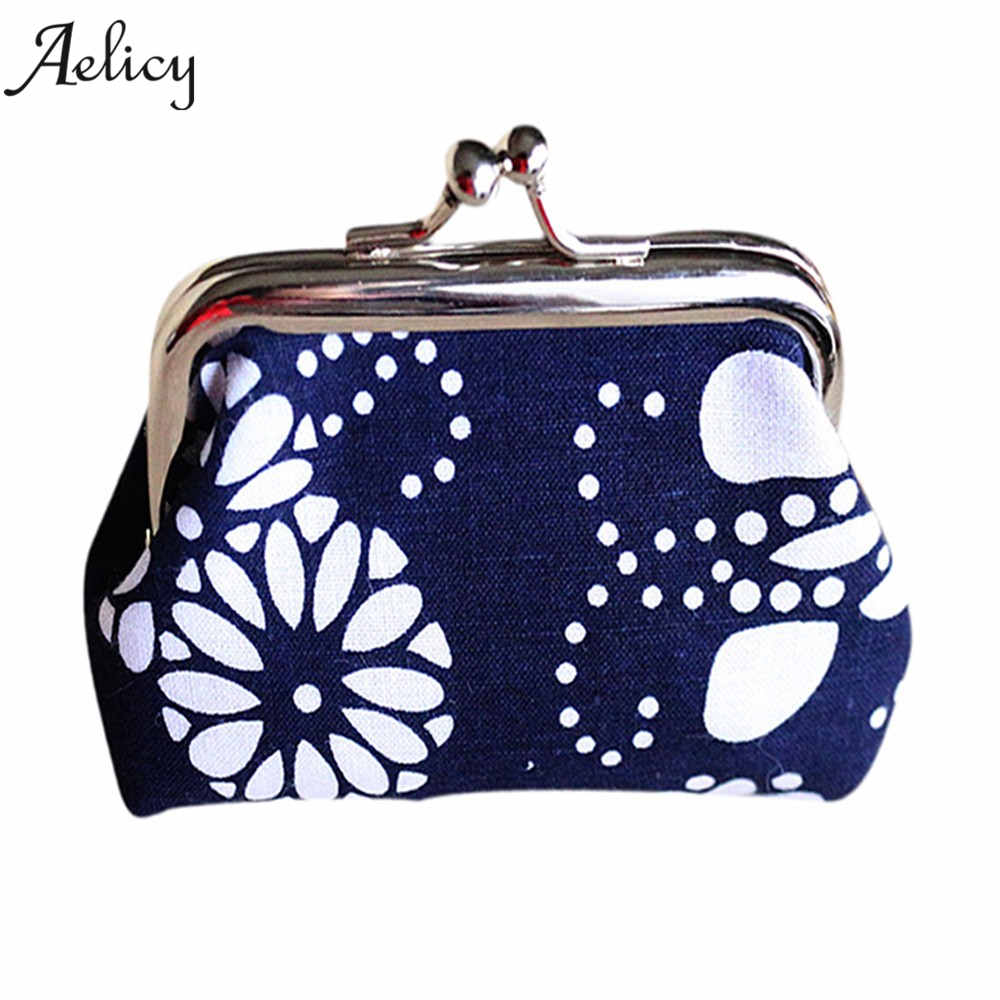 Aelicy New Fashion Small Canvas Purse Lady Coin Purse Bag Women Lady Retro Vintage Flower Small Wallet Hasp Purse Clutch