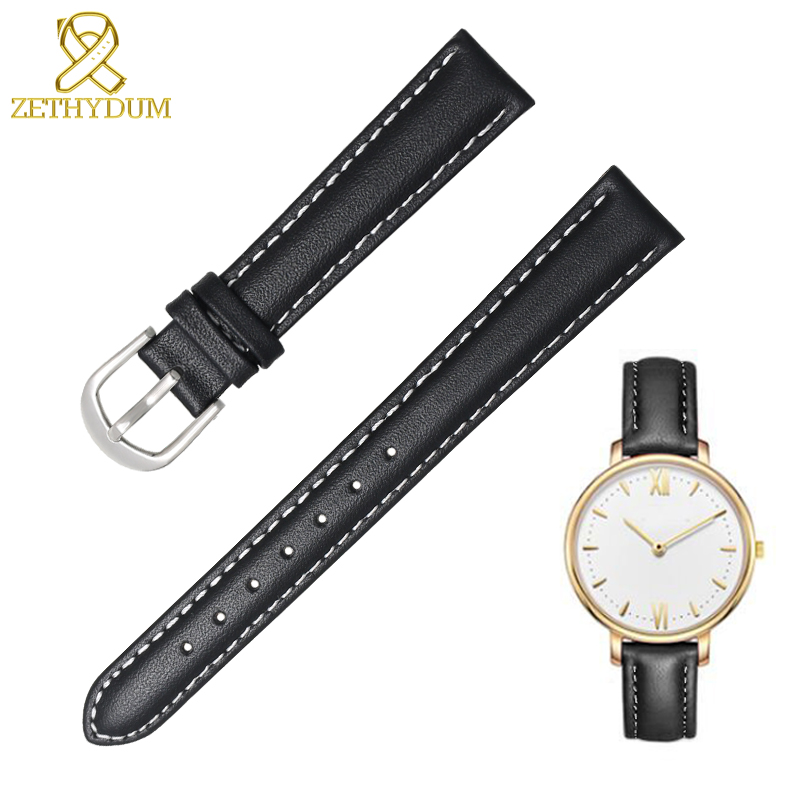 Genuine leather bracelet <font><b>12</b></font> 14 16 18 20 <font><b>mm</b></font> womens watchband plain wristwatches band small <font><b>watch</b></font> <font><b>strap</b></font> soft common use band image