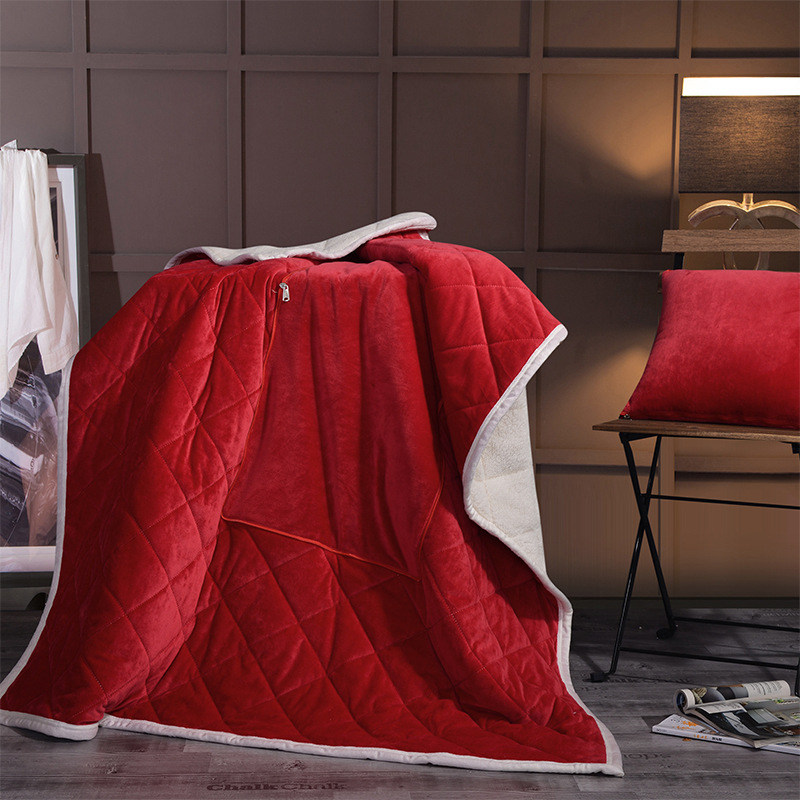 Pure color soft Crystal velvet Sheep cashmere Multifunctional pillow blanket Sofa Office Dual purpose cushion plush throw sheet