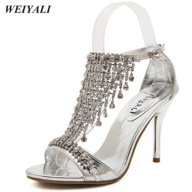 Glitter Crystal Sandals Women Gold