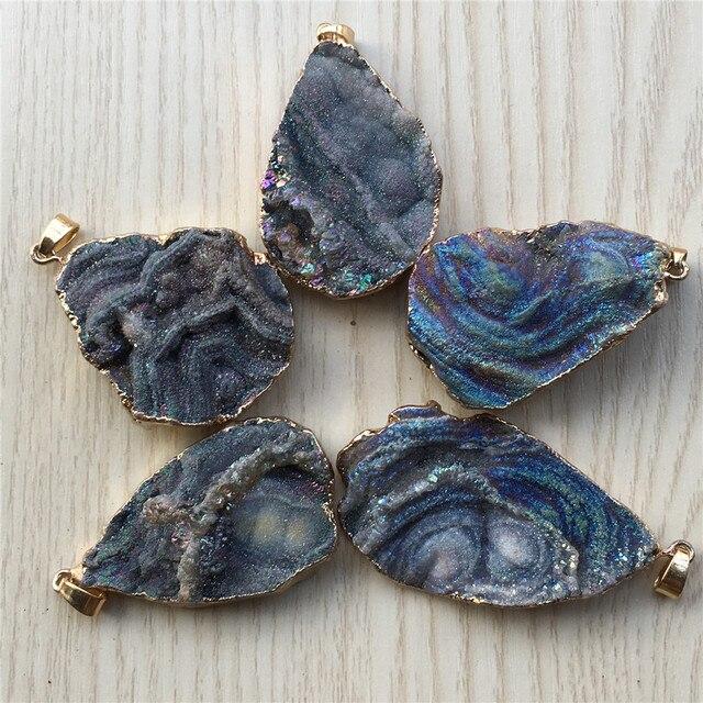 Nouveau luxe personnalisé pierre naturelle galaxie pendentifs, nébuleuse cosmique créatif Agates collier et pendentif belle chanceux 5 pièces Lot