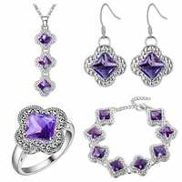 Earrings Ring Pendant Necklace JEXXI Newest Rectangle Cut Cubic Zirconia Stone Jewelry Set 925 Sterling Silver