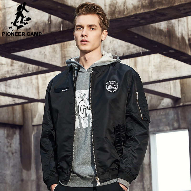 Pioneer Camp New Spring jacket coat men brand clothing fashion male <font><b>bomber</b></font> jacket top quality outwear <font><b>black</b></font> army green AJK707001