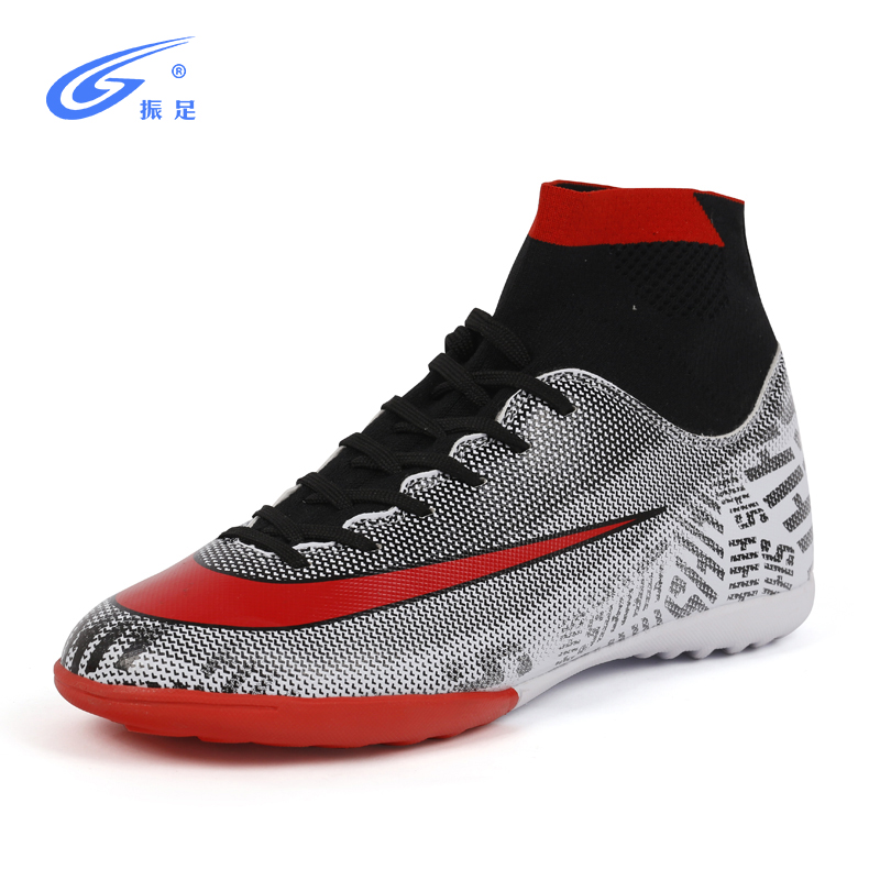Turf Indoor High Top Adult Rubber sole Soccer shoes men boy futzalki centipede children boots for football Shoe size 28-44(China)