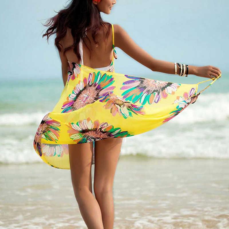 Menyaring Musim Panas Wanita Cover-Up Beachwear Bikini Selendang Tabir Surya Chiffon Beach Selendang Besar Ukuran Floral Mencetak Spaghetti Beach Tunik