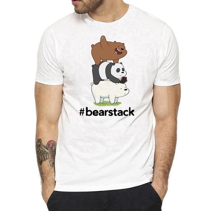 Bears We Bare Bears Cards T Shirt Man Cotton Short Sleeve Fashion Summer Harajuku Streetwear Casual O-neck Men T-shirt