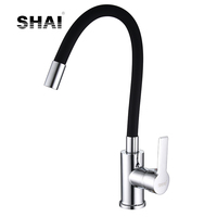 SHAI Silica Gel Nose Any Direction Rotating Kitchen Faucet Single Handle Hot & Cold Water Tap Chrome Torneira Cozinha SH3207B
