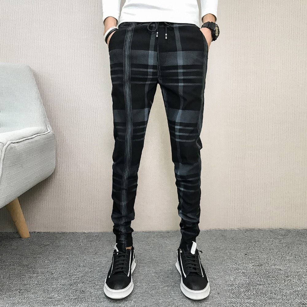 Autumn 2018 men's slim plaid casual pants net red society youth guy fashion wild feet pants