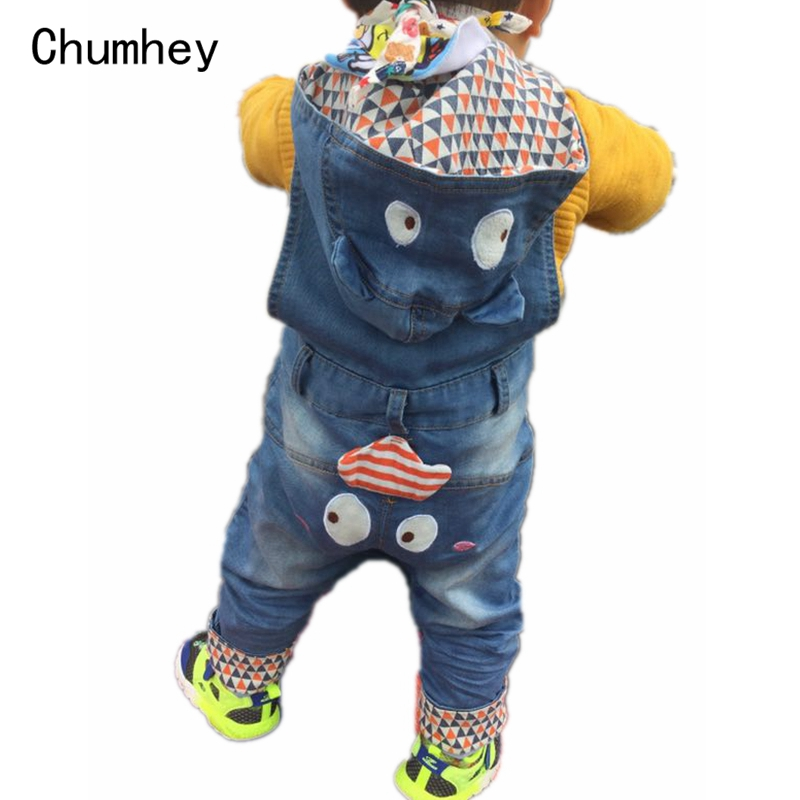 High Quality 10m-4T Baby Jeans Overalls Long Pants Hooded Rompers Toddler Girls Boys Jeans Jumpsuit Kids clothes bebe Clothing free shipping 2018 jeans fashion plus size 24 30 pants for tall women high quality overalls jumpsuit and rompers denim trousers