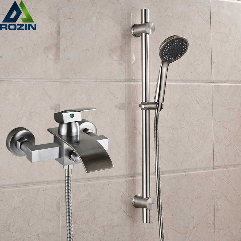 Brushed Nickel Waterfall Bath Shower Faucet Wall Mounted with Brass Sliding Bar Shower Set Single Handle Handshower Shower Mixer nickel brushed waterfall tub spout bath shower mixer faucet wall mounted single handle bathroom shower faucet with handshower