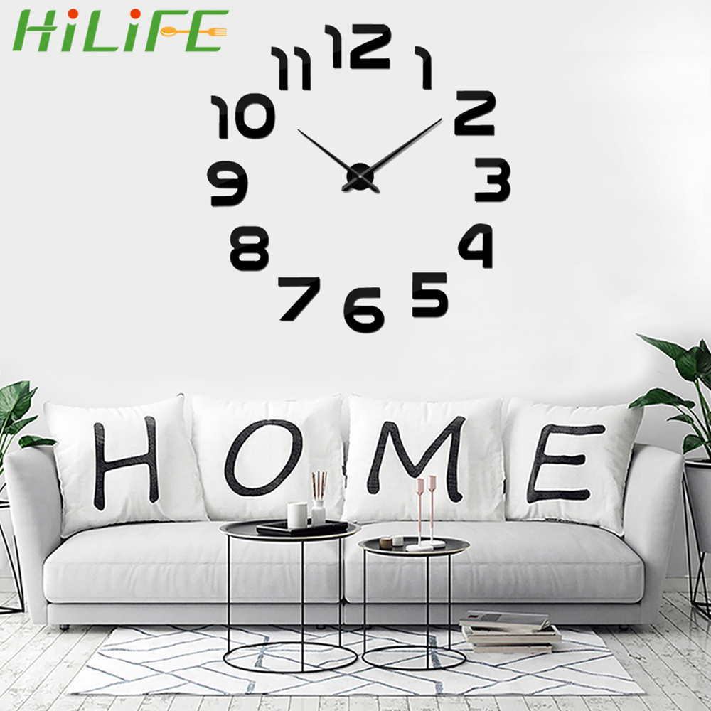 New 3d Diy Acrylic Mirror Stickers Quartz Needle Clock Wall Clock Art Living Room Home Decoration Modern Big Quartz Watch Clocks