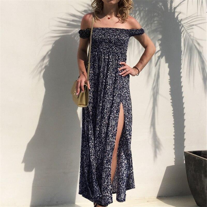 Sexy Off Shoulder Print Flower Long Dress Women Summer Dress 2019 Short Sleeve Strapless Fit and Flare Beach Dress Party Dresses