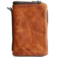 Genuine Crazy Horse Leather Short Women Men Wallets Vintage Trifold Wallet Zip Coin Pocket Purse Real Cowhide Handmade