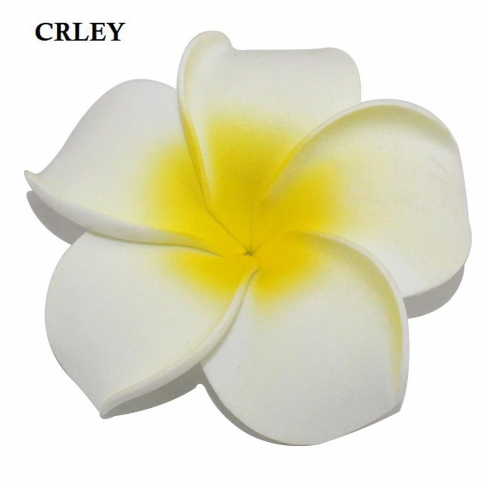 CRLEY 10pcs Plumeria Hawaiian PE Foam Frangipani Artificial Flower ...