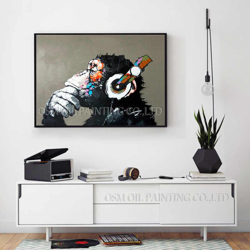 Топ художника чисто ручная роспись высокое качество современное искусство Горилла картина маслом на холсте Абстрактная забавная животное обезьяна картина маслом