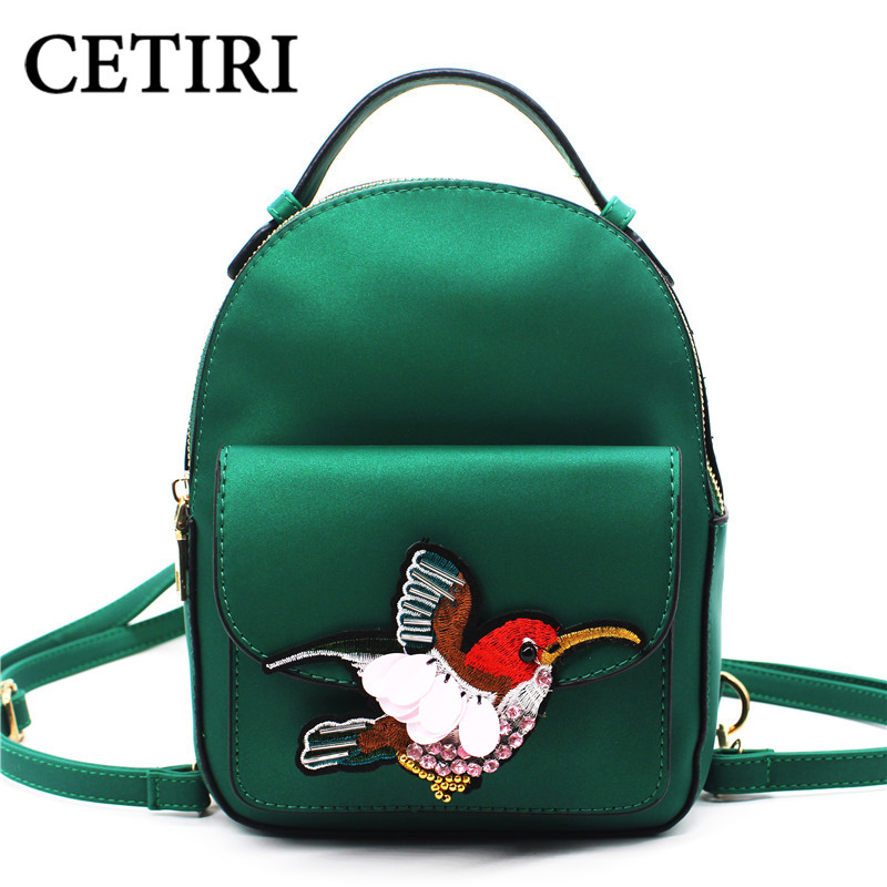 Women Backpack Animal Prints Embroidery Small Backpacks High Quality Ladies  Bags Ethnic Mochila Feminina Casual School Bag green 51968c20d000c