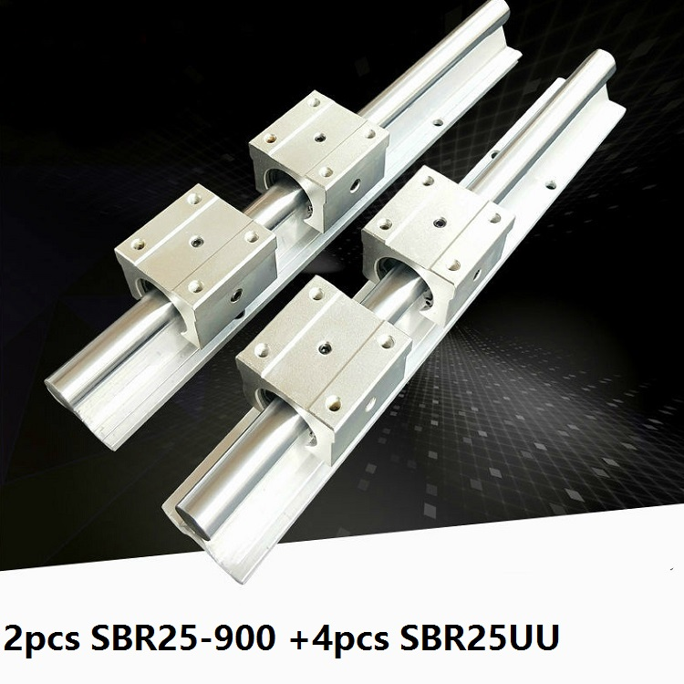 2pcs SBR25 25mm 900mm Support Linear Guide Rail + 4pcs SBR25UU Linear Bearing Sliding blocks CNC Router Parts2pcs SBR25 25mm 900mm Support Linear Guide Rail + 4pcs SBR25UU Linear Bearing Sliding blocks CNC Router Parts