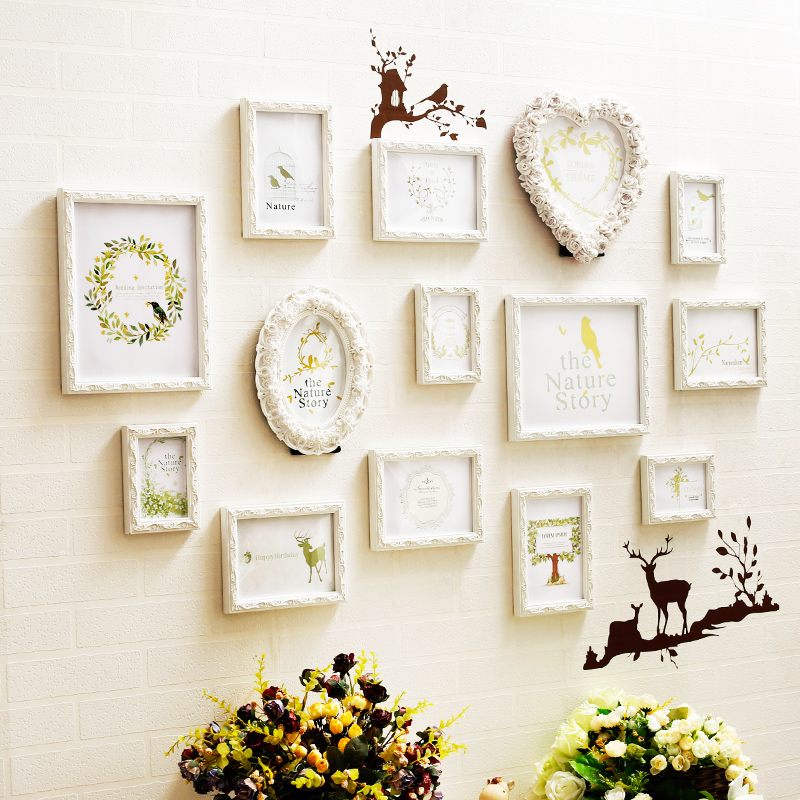 14 pcs Wooden Carved Photo Frames with 3D Wall Decorations Sweet Home Decorative Picture Frames Set