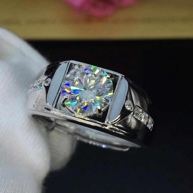 คลาสสิก 2ct กะรัตรอบ Moissanite แหวนเงิน 925 Platinum Plated แหวนชาย D สี VVS1 CLARITY