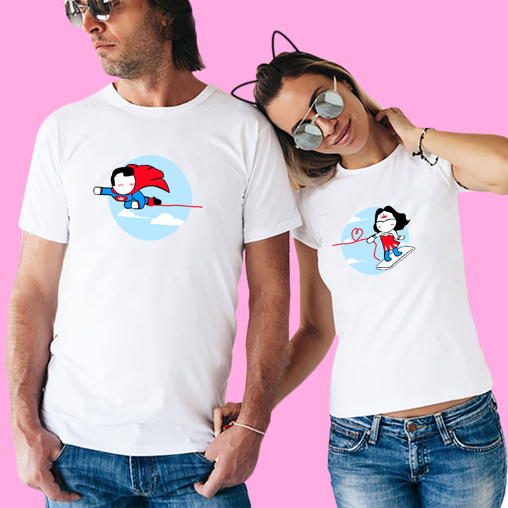 YOFOCOO Couple Clother Couples T Shirt for Lovers Short Sleeve O Neck T shirt Women Print Beautiful Girl T shirt Cotton Summer in T Shirts from Men 39 s Clothing