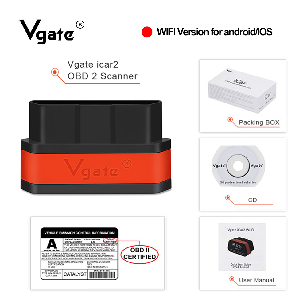 Vgate iCar2 ELM 327 v2 1 obd2 scanner wifi adapter car diagnostics for IOS android obd odb2 diagnostic tool PK elm327 v1 5 New