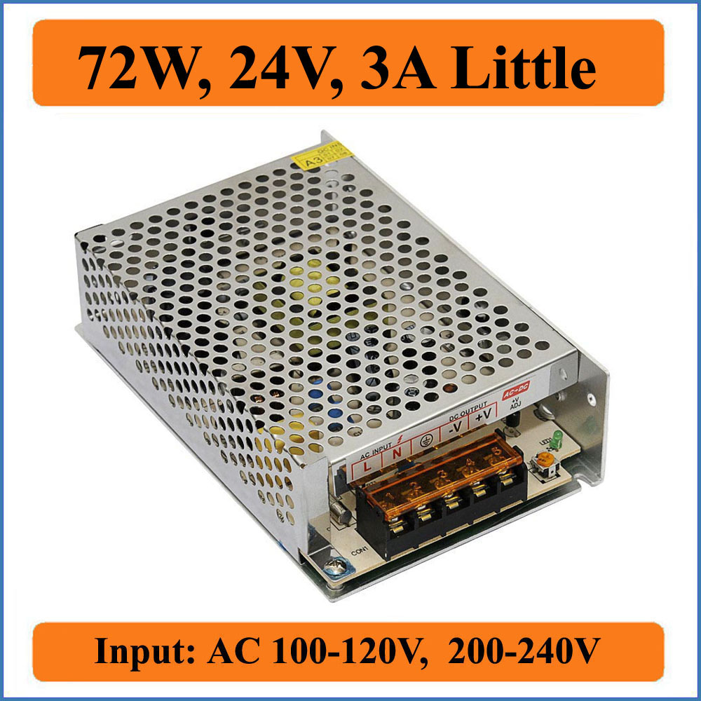 72w 24v 3a Little Switching Power Supply Ac 100120v 200240v Input Pwm Speed Controller For 300w Cnc Spindle Motor Kits Support And Dc To Single Output Led Strip Lighting