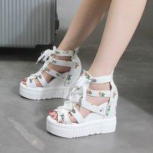 Rozmiar 42 kliny buty damskie sandały wysokie obcasy letnie buty 2019 Chaussures Femme sandały na platformie białe buty