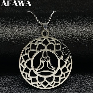 Yoga Lotus Stainless Steel Necklace Pendant Women Silver Color Statement Necklace Jewelery flor de loto bisuteria mujer N182344