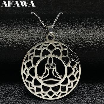Yoga Lotus collar de acero inoxidable colgante mujeres Color plata declaración collar...