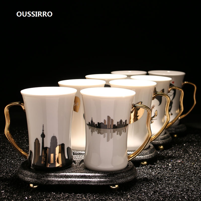 OUSSIRRO Natural Marble 12 Constellation Toothbrush Holder Cup Ceramics Mug Cup Wash Tooth Mug Bathroom Sets W3002