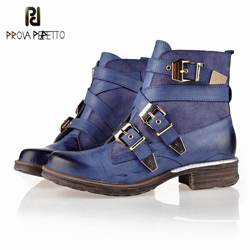 Prova Perfetto Hot Sale Retro Casual Ankle Boots Genuine Leather Women Boots Metal Buckle Design Blue Boot Vintage Autumn Shoes