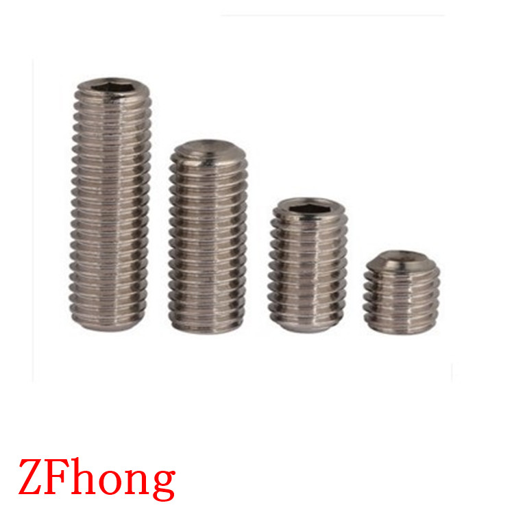 100pcs DIN913 M3*3/4/5/6/10/12/14/16/20 A2 Stainless Steel flat end hex socket set grub screw n a p14 5 2 3 6 100