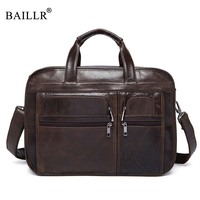 BAILLR Brand High Quality Tote For Men Business Briefcase Luxury Design Cross Body Bag Genuine Leather