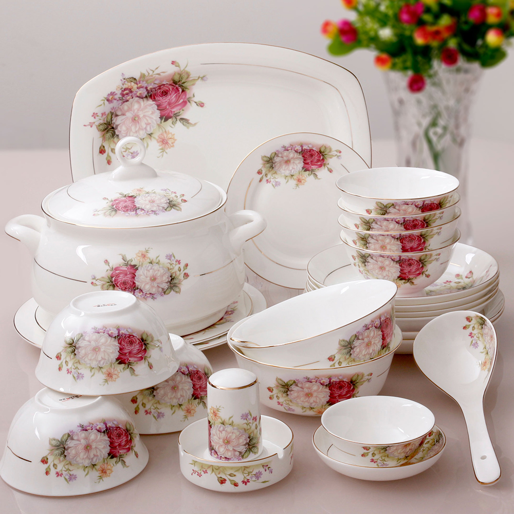 56 pieces bowl bone china dinnerware set quality porcelain chinese style & 56 pieces a sets kupper bone china dinnerware set bone china fashion ...