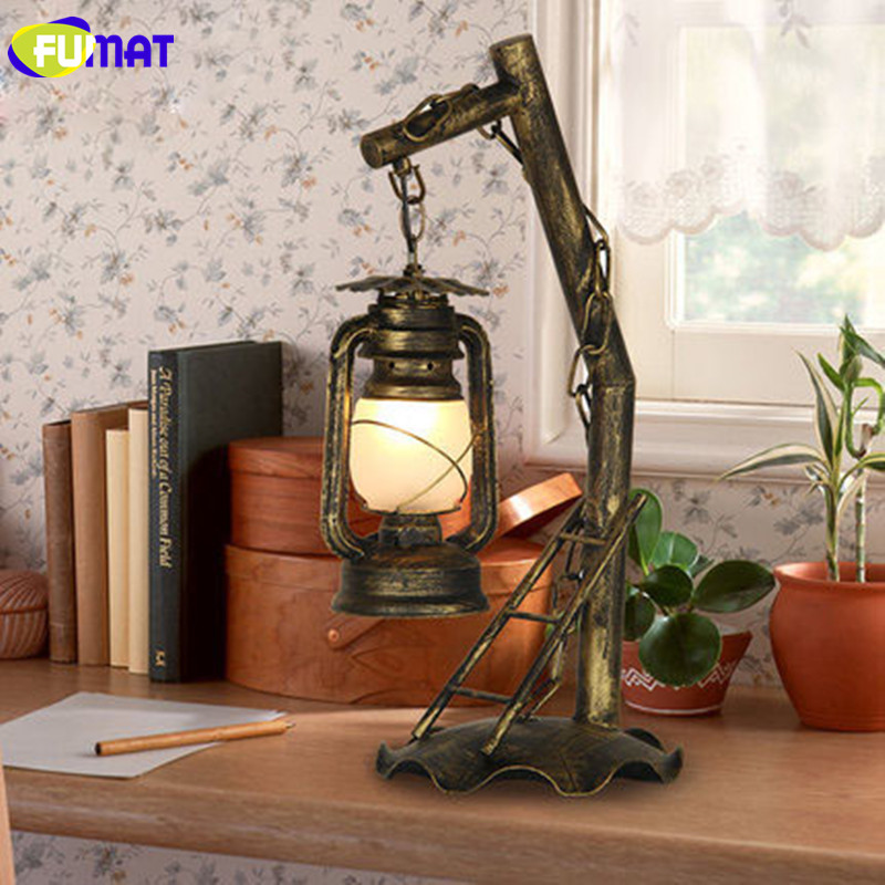 FUMAT Vintage Iron Kerosene Table Lamps Retro Metal Desk Lamp Living Room  Bedroom Abajur Decorative Study Table Lamp Lantern In Table Lamps From  Lights ...