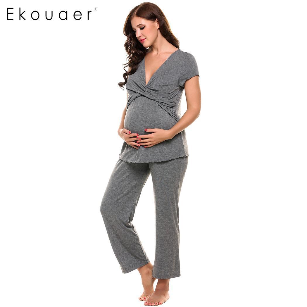 Ekouaer Soft Maternity Pajamas Cotton Modal Nightwear Set Women Crossing V-Neck Short Sleeve Top Long Pant Nursing Sleepwear Set