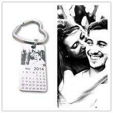1 шт. персональные фото брелок-календарь любовь Дата подарок из нержавеющей стали сувенир