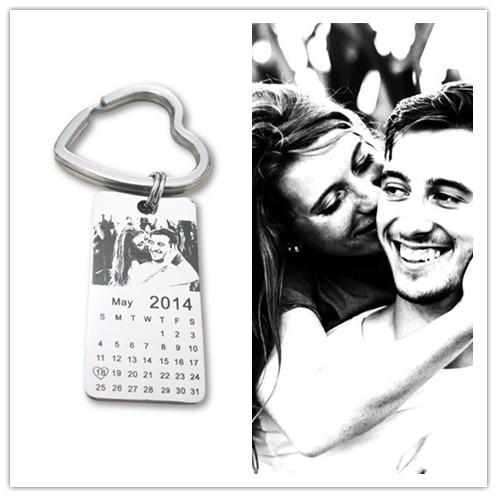 1 pc personalizado foto calendario llavero amor fecha regalo acero inoxidable recuerdo llavero etiqueta 20mm X 40mm