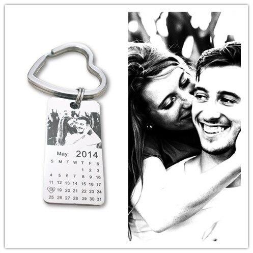 1 pc personalizado foto calendario llavero de cita de amor, regalo de acero inoxidable recuerdo