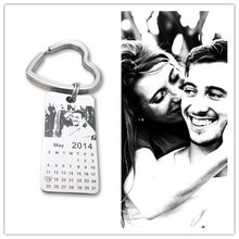 1 pc personalized photo calendar keychain love date gift stainless steel souvenir keychain Tag 20mm X 40mm(China)