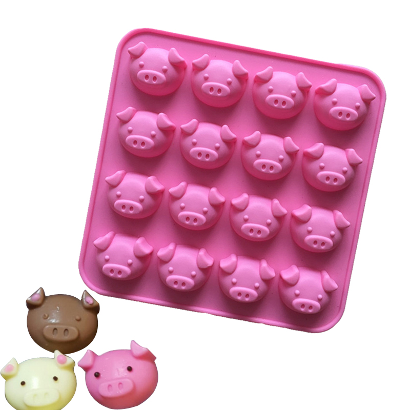 Silicone Chocolate Classic Pig Head Design Cake Pizza Jelly Pudding Candies Baking Pastry Mould For Kitchen