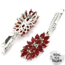 5.4g Real 925 Solid Sterling Silver Luxury Red Ruby, CZ Womans Earrings 42x13mm