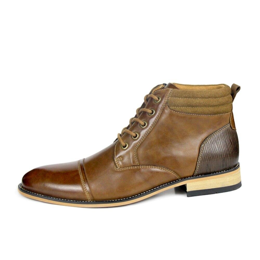 Calidad De Moda Vendimia Los Alta Hombres Calzado La Genuino Otto Primavera brown Encaje Zapatos otoño Zapatos Black Tobillo Stock Botas Cuero YpqzwO