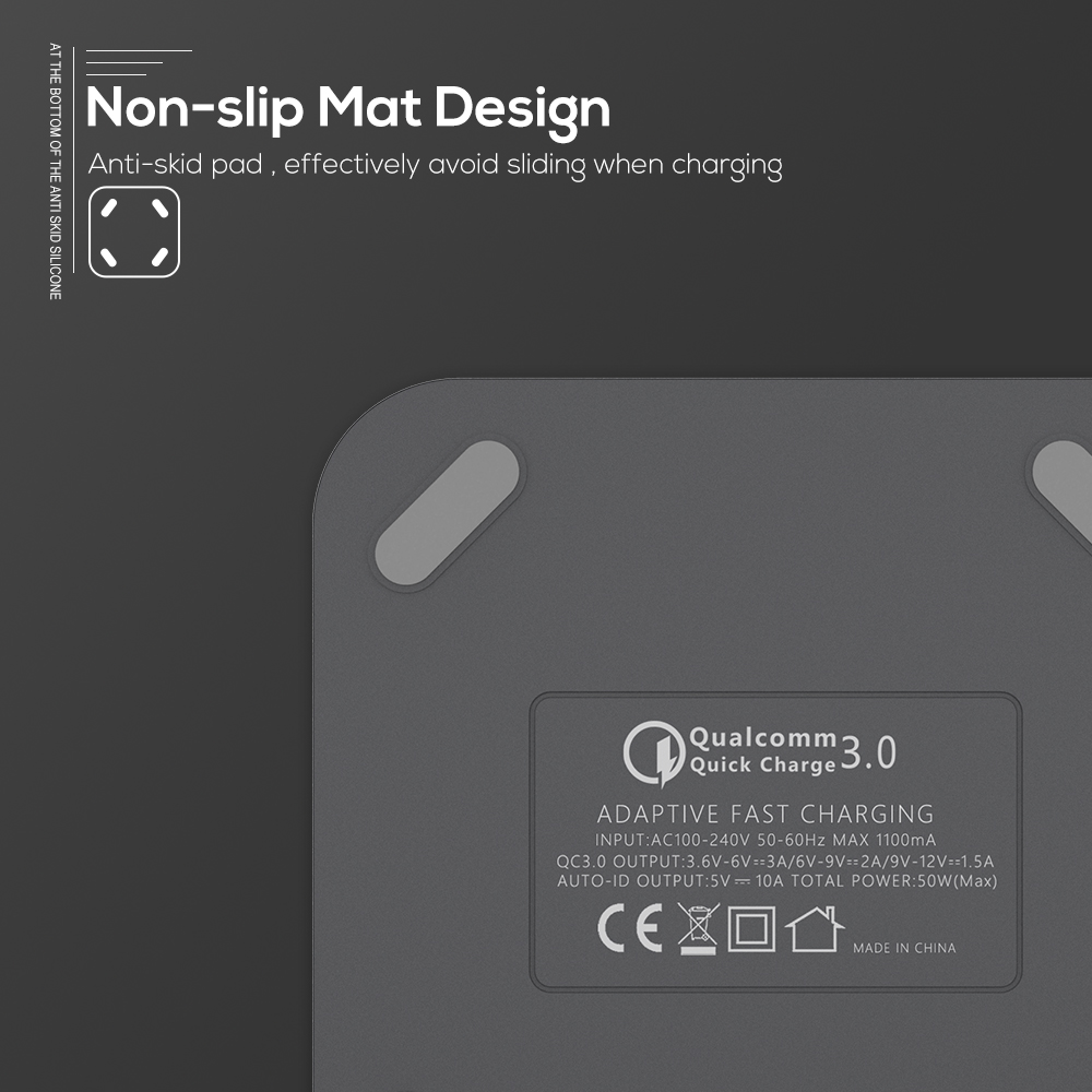 Image 5 - TOPK B829Q 8 Port 50W Quick Charge 3.0 USB Charger for iPhone Samsung Xiaomi Huawei EU US UK AU Plug Desktop Fast Phone Charger-in Mobile Phone Chargers from Cellphones & Telecommunications