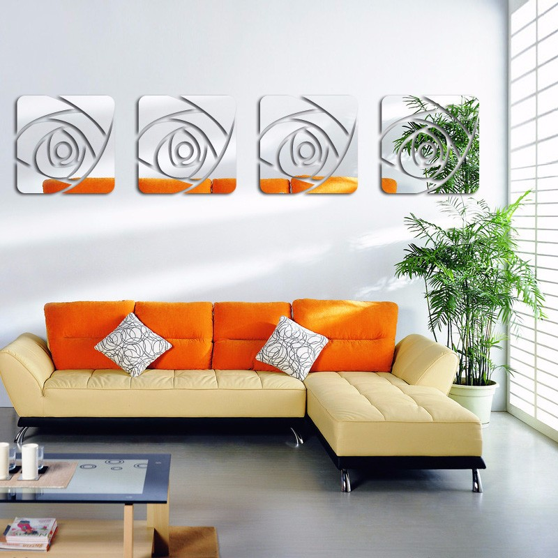 Superieur 3D Mirror Wall Stickers Modern Decorative Acrylic Wall Sticker Rose Pattern  Wall Art Living Room Bedroom Poster Home Decor In Wall Stickers From Home  ...