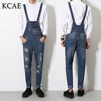 S XL Brand Male Suspenders 2016 New Casual Denim Overalls Blue Ripped Jeans Pockets Men S