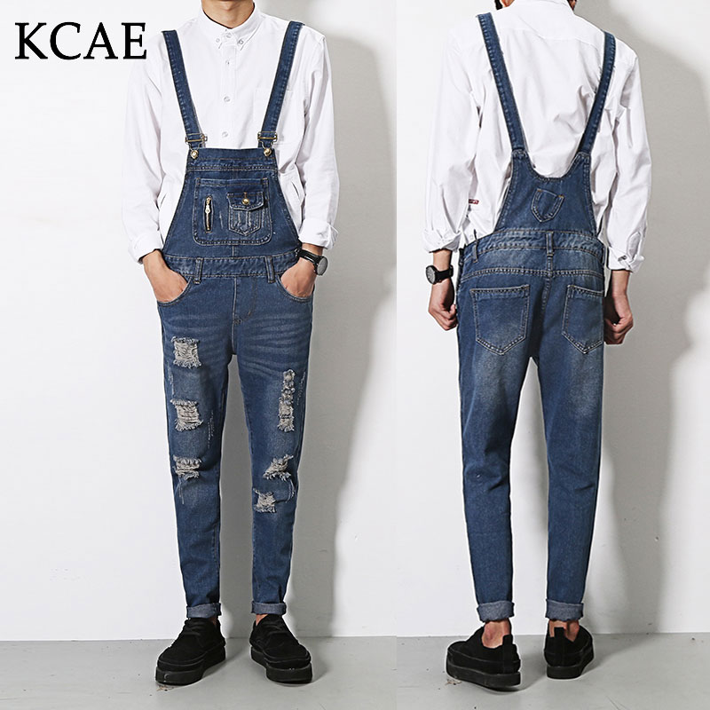 S-XL Brand Male Suspenders 2016 New Casual Denim Overalls Blue Ripped Jeans Pockets Men's Bib Jeans Boyfriend Jeans Jumpsuits new male suspenders new casual light blue denim overalls ripped jeans pockets men s bib jeans boyfriend jumpsuits